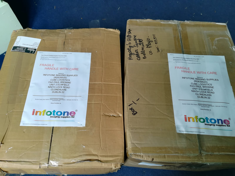 More than 150 (two large boxes) used cartridges sent for recycling.